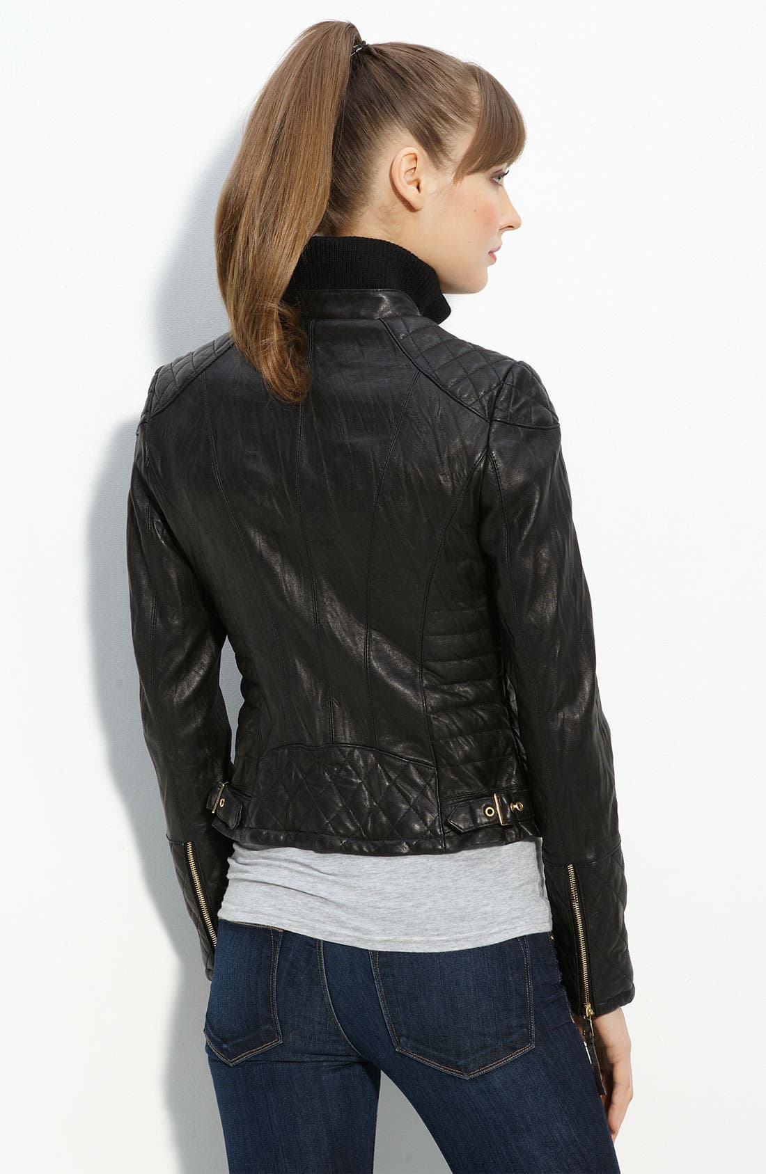 Alternate Image 3  - bebe Quilted Lambskin Leather Jacket