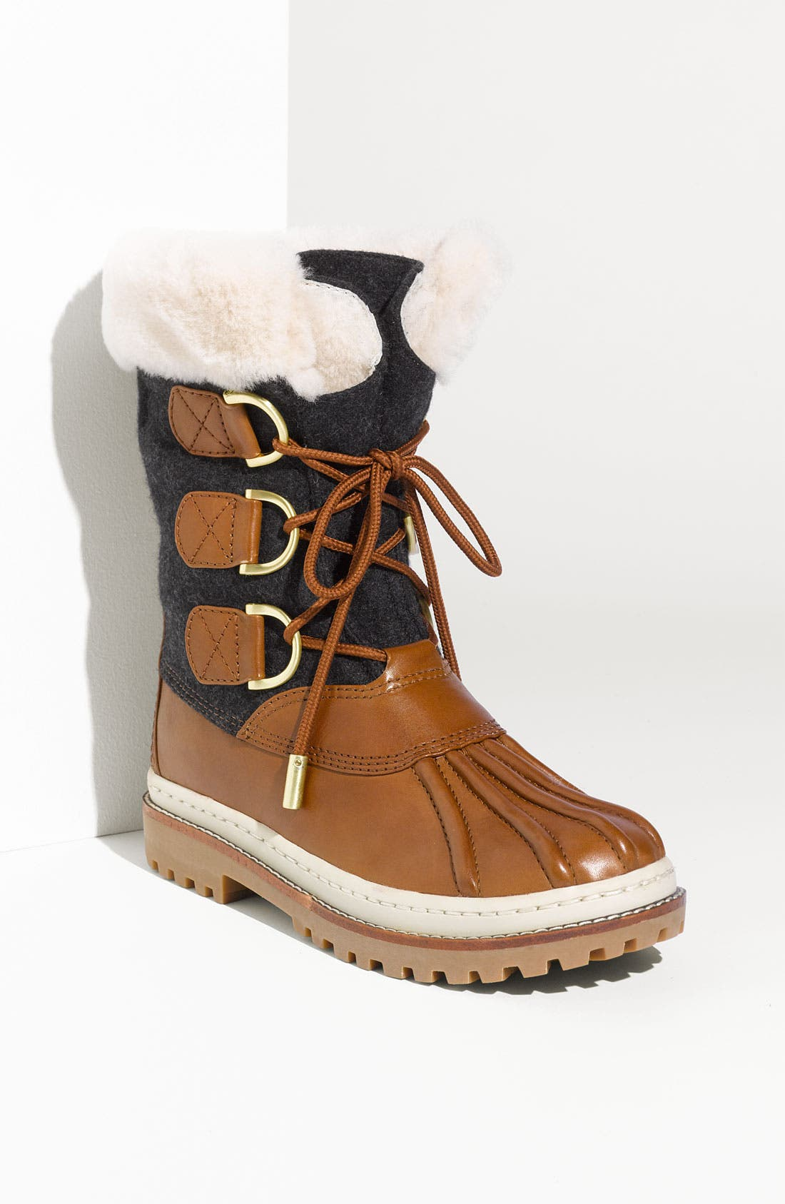 Main Image - Tory Burch Flannel & Leather Duck Boot