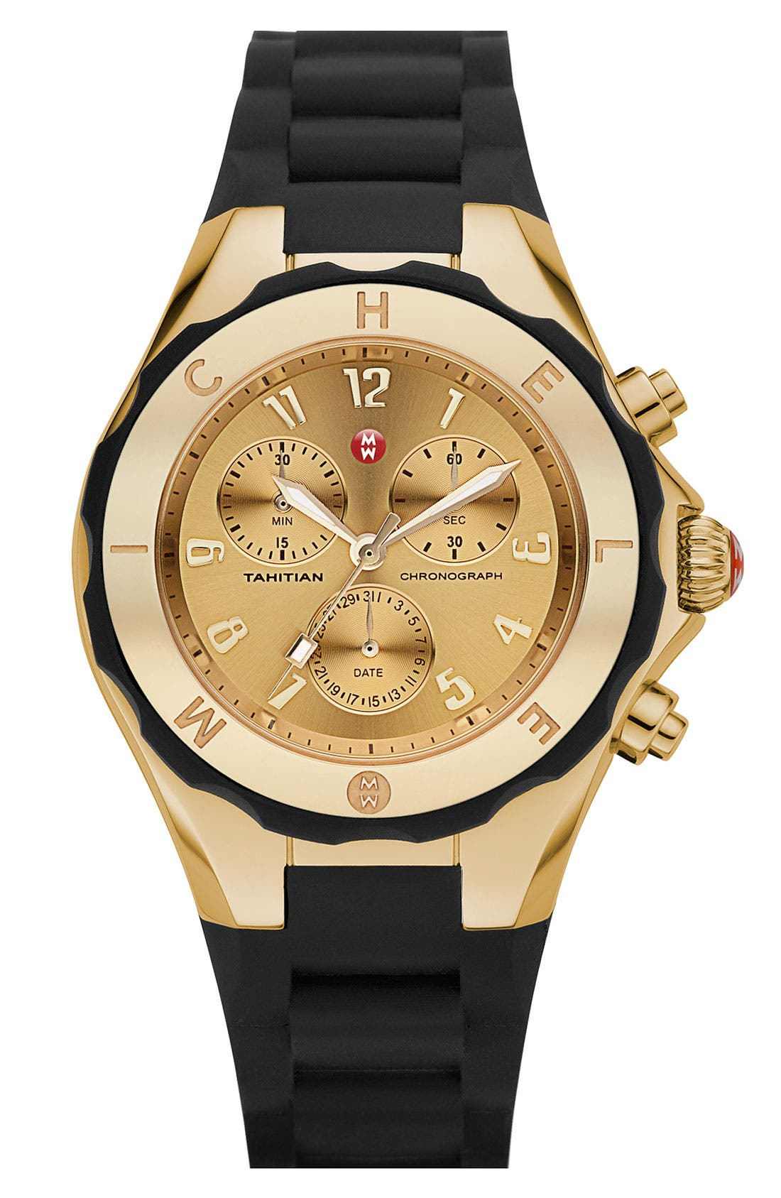 Main Image - MICHELE 'Tahitian Jelly Bean' Gold Plated Watch, 40mm