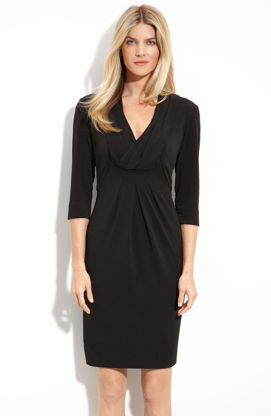 Alternate Image 1 Selected - Donna Ricco Drape V-Neck Jersey Dress (Regular & Petite)