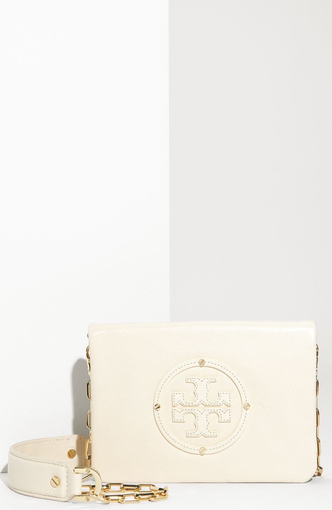 Main Image - Tory Burch 'Moonlight Stacked Logo - Reva' Leather Clutch