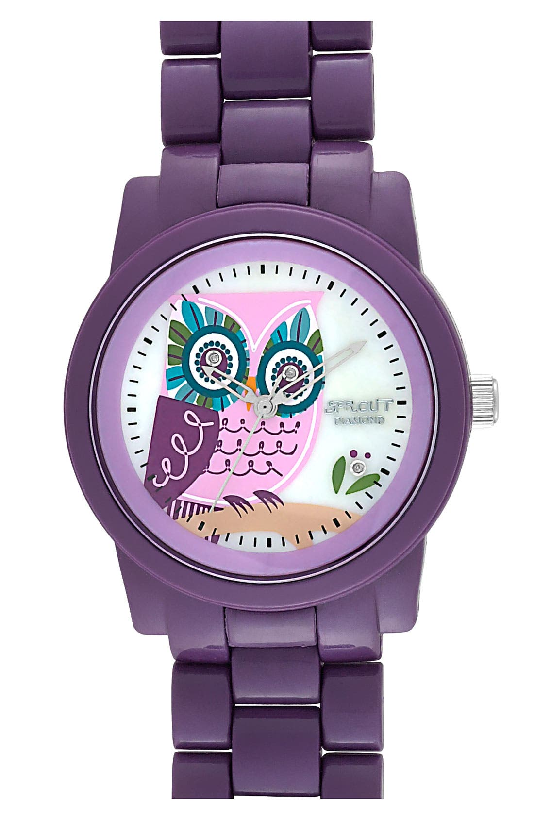 Main Image - SPROUT™ Watches Diamond Owl Watch. 37mm