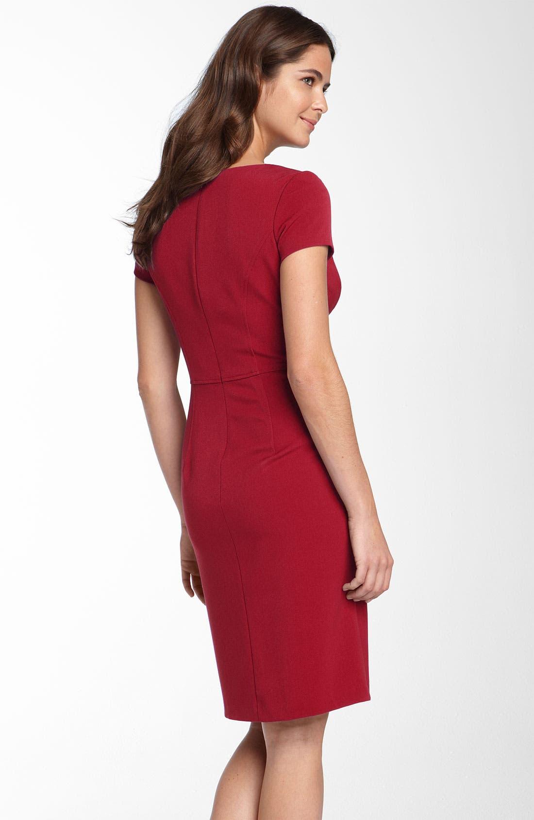 Alternate Image 2  - Donna Ricco Seamed Stretch Twill Sheath Dress
