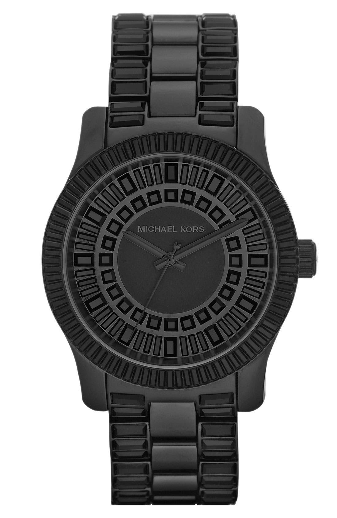 Alternate Image 1 Selected - Michael Kors 'Runway' Baguette Crystal Bracelet Watch
