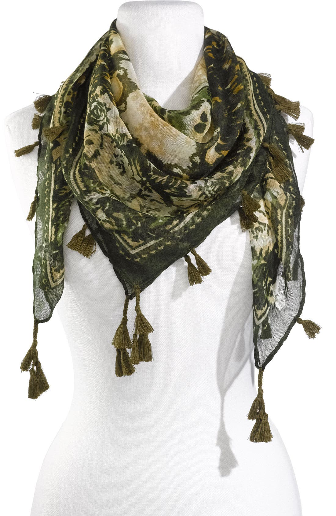 Alternate Image 1 Selected - David & Young Floral Tassel Scarf
