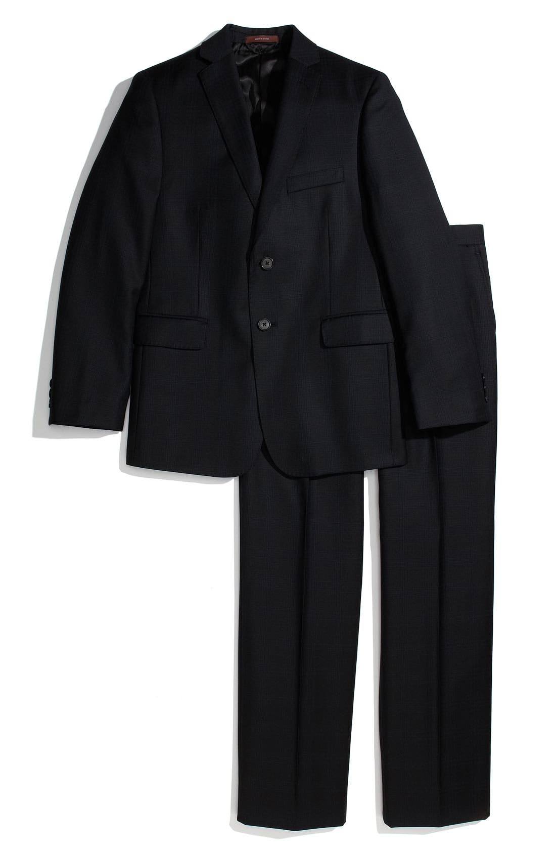 Main Image - Hickey Freeman Navy Windowpane Plaid Worsted Wool Suit (Big Boys)