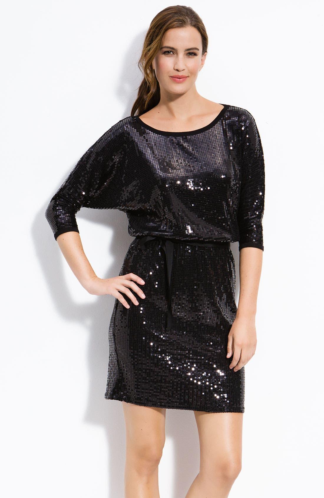 Main Image - Karen Kane Dolman Sleeve Sequin Dress