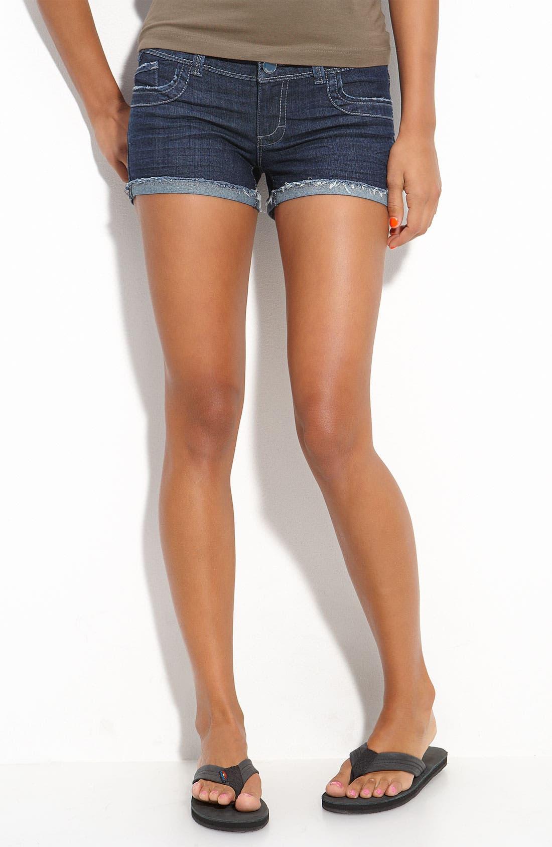 Alternate Image 2  - STS Blue Frayed Cuff Denim Shorts (Juniors)