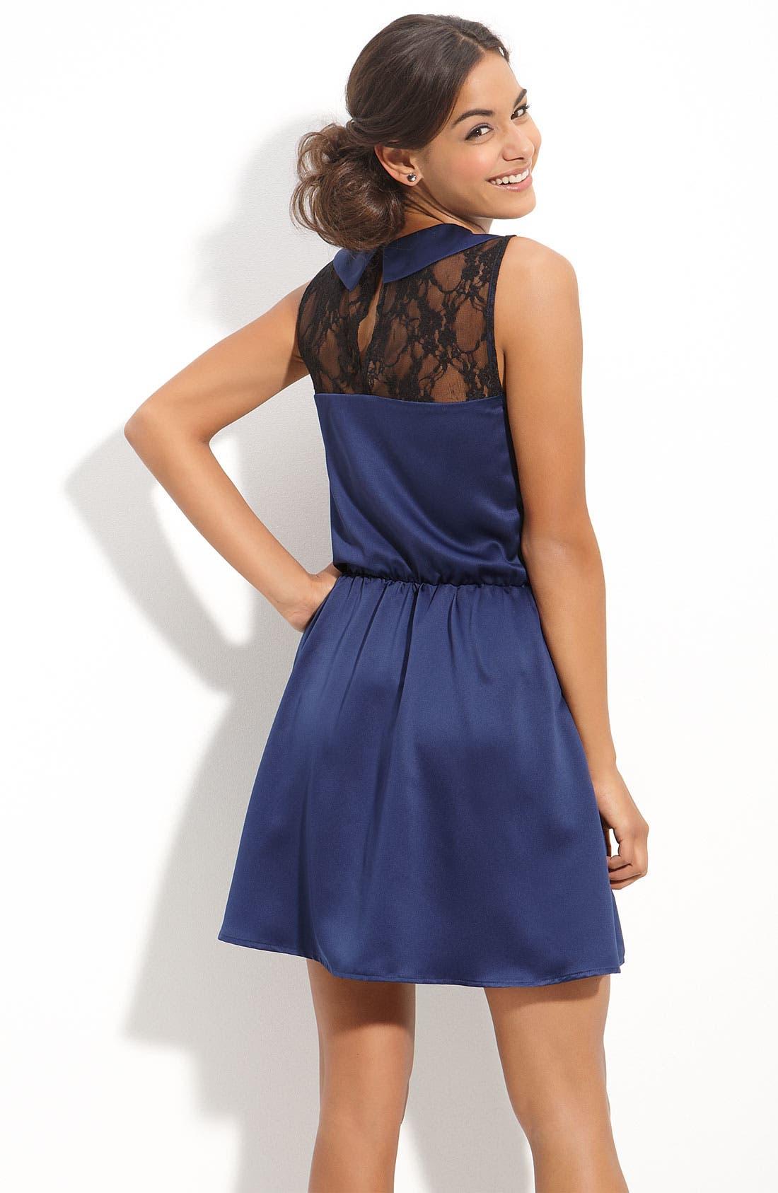 Alternate Image 2  - Mimi Chica Lace Inset Dress (Juniors)