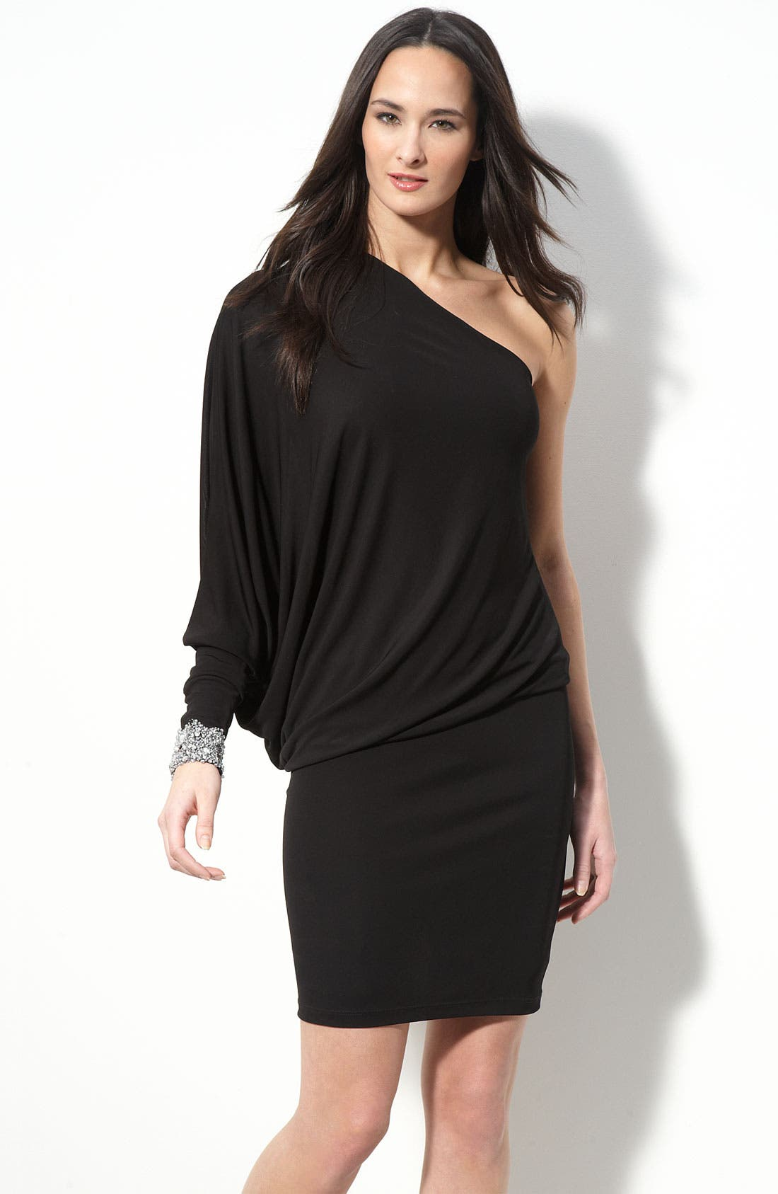 Main Image - David Meister Dolman Sleeve One Shoulder Jersey Dress