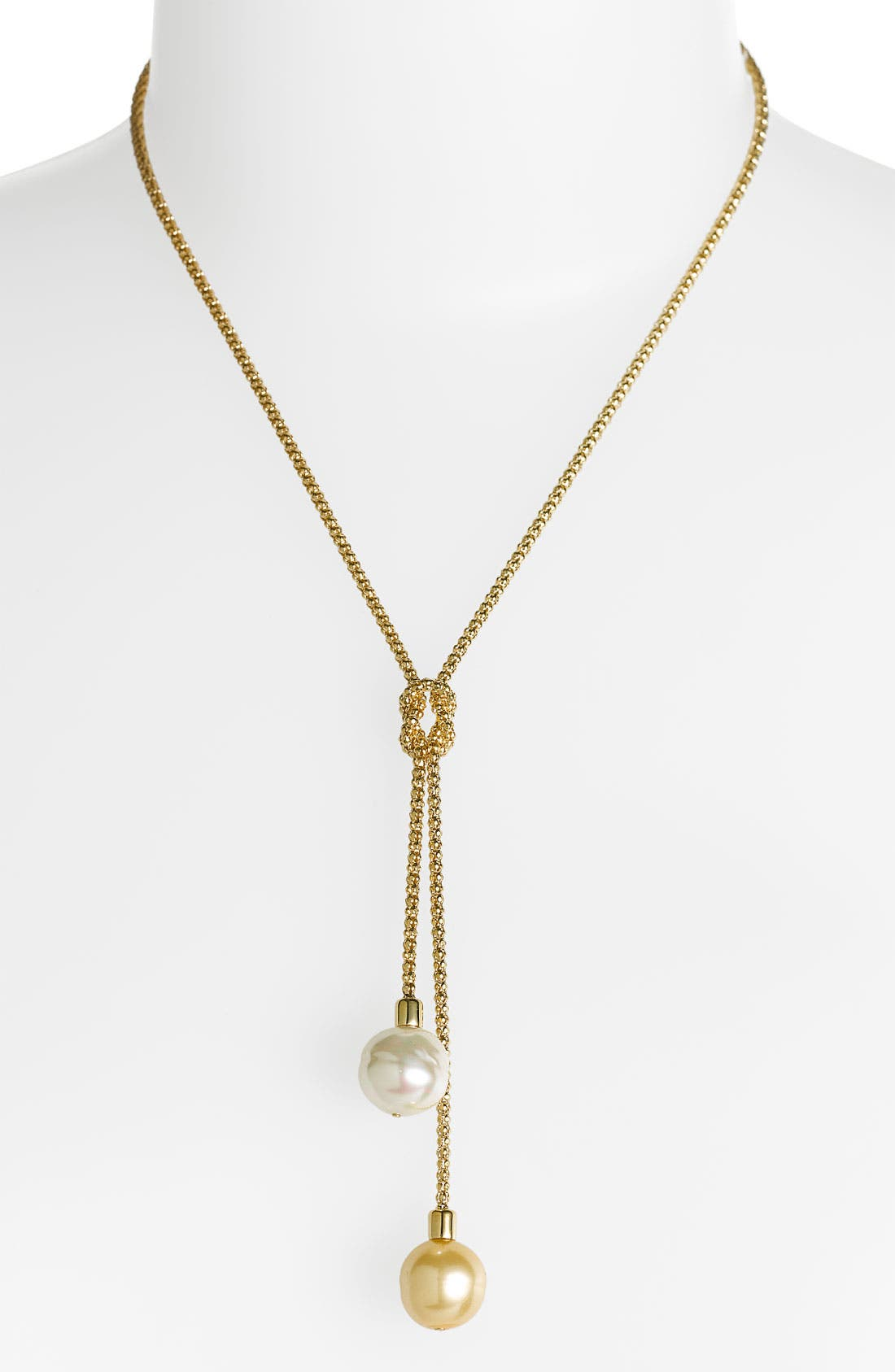 Main Image - Majorica 'Love Knot' 14mm Pearl Lariat Necklace
