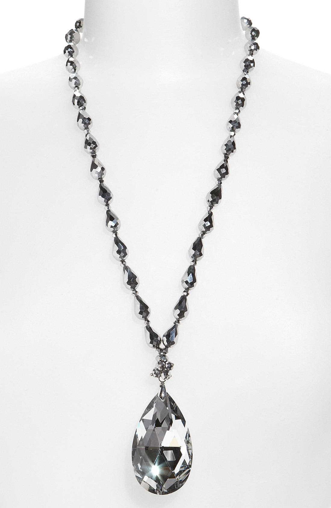 Main Image - Cara Accessories Faceted Crystal Teardrop Pendant Necklace