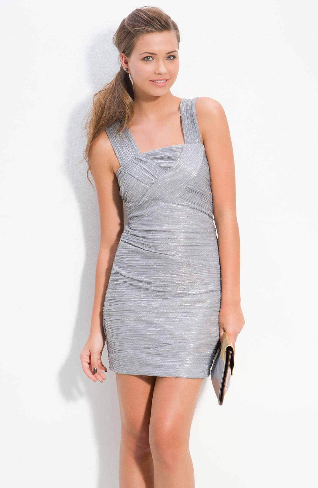 Alternate Image 1 Selected - Way-In 'City Triangles' Ruched Mesh Overlay Dress (Juniors)