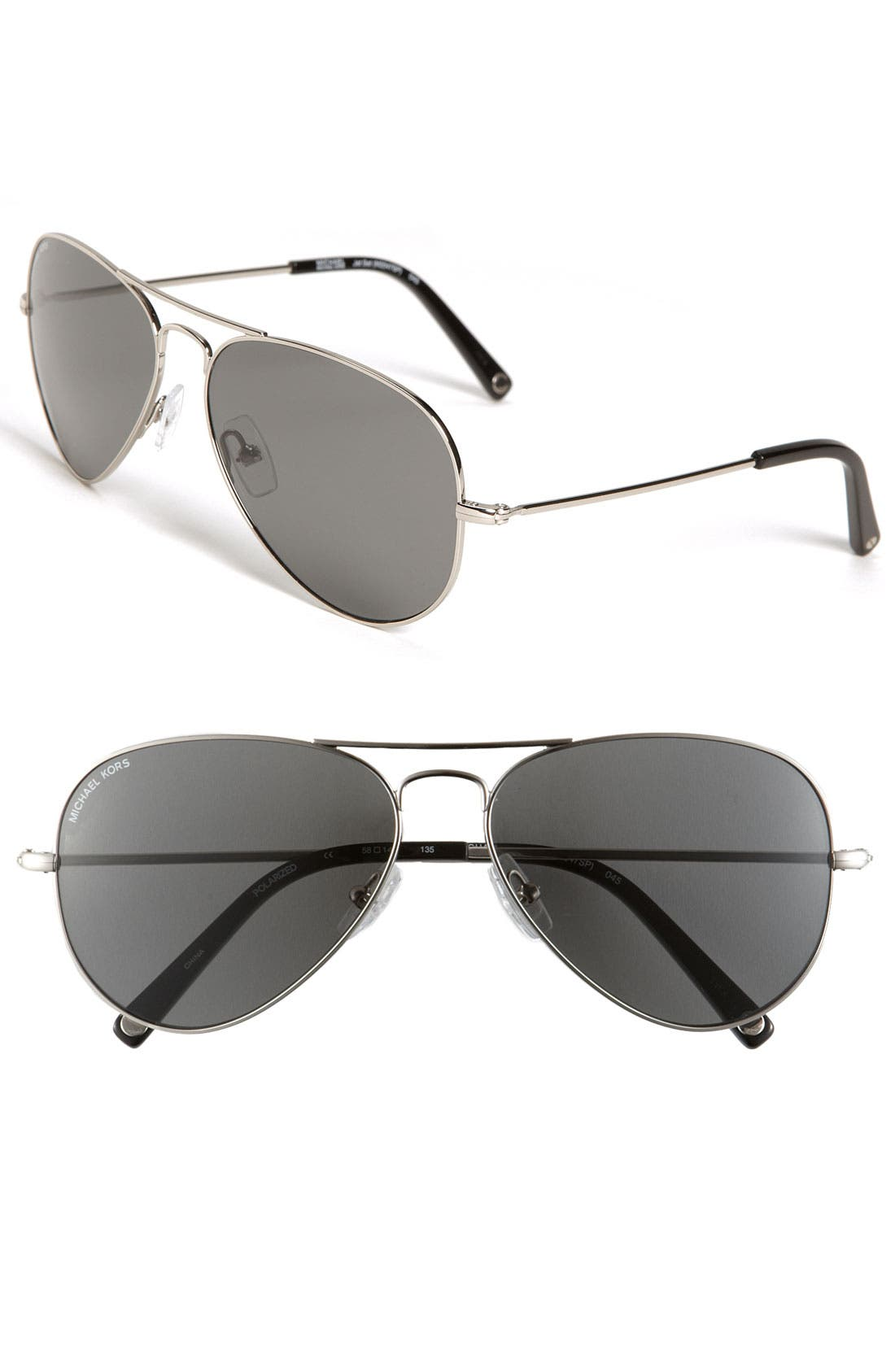 Main Image - MICHAEL Michael Kors 58mm Polarized Aviator Sunglasses