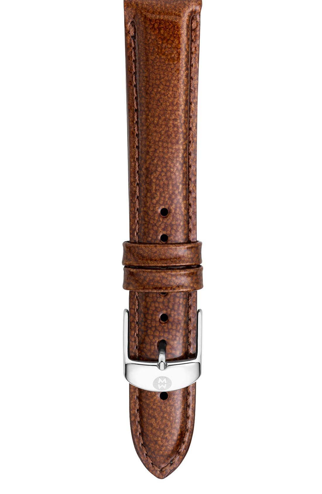 Alternate Image 1 Selected - MICHELE 'Deco Diamond' Diamond Dial Watch Case & 18mm Safari Patent Leather Strap