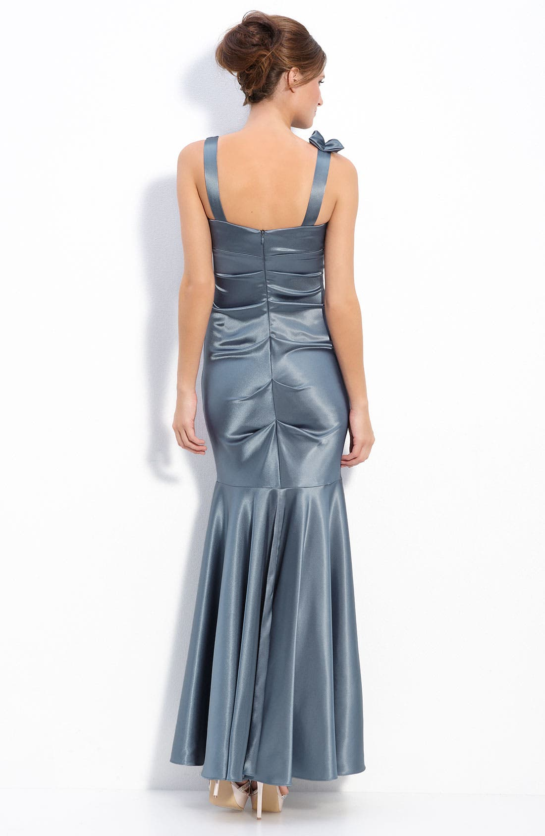 Alternate Image 2  - Xscape Floral Ruffle Stretch Satin Ruched Mermaid Gown
