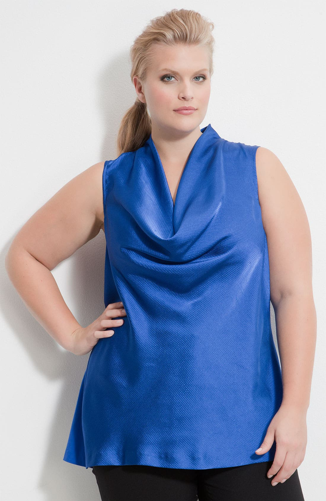 Alternate Image 1 Selected - Kenneth Cole New York Mixed Media Drape Neck Top (Plus)