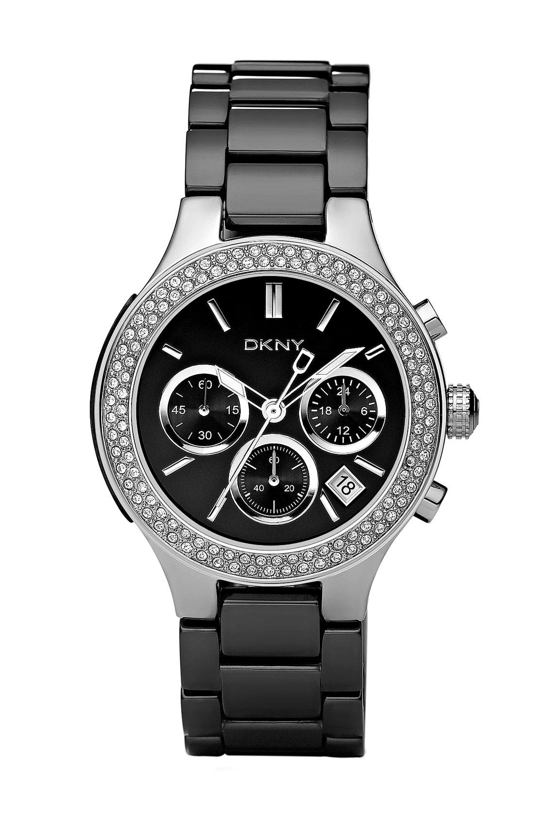 Alternate Image 1 Selected - DKNY Ceramic Crystal Bezel Bracelet Watch