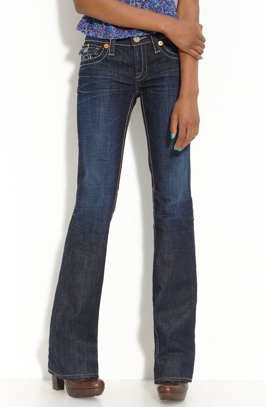 Main Image - Big Star 'Liv' Flap Pocket Bootcut Jeans (Juniors Long)