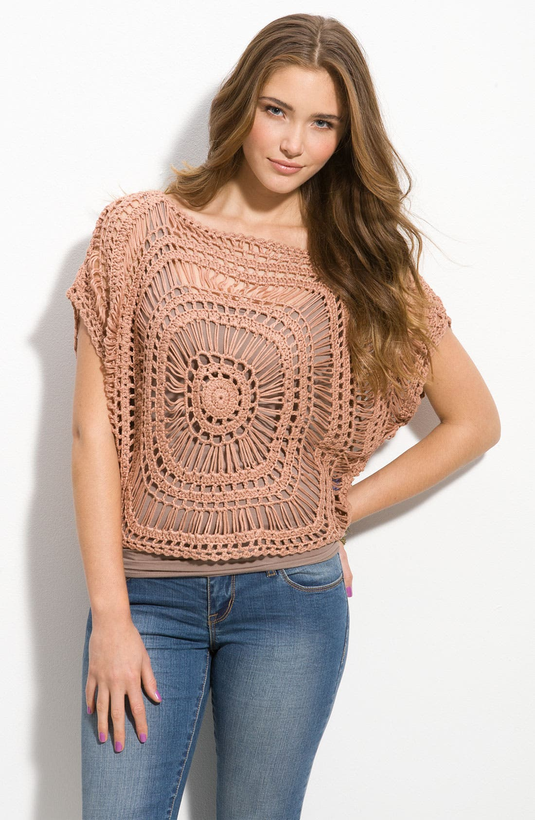Alternate Image 1 Selected - WallpapHer Crochet Medallion Top (Juniors)