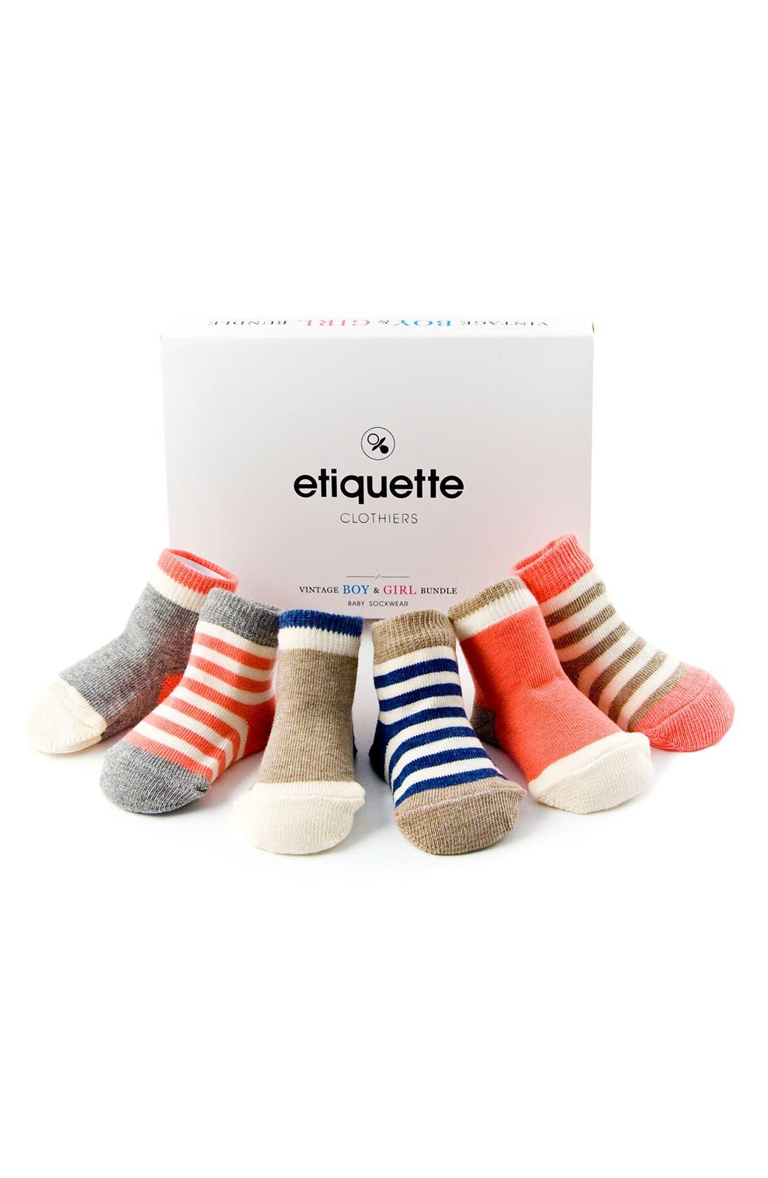 Main Image - Etiquette Clothiers 'Vintage Bundle' Socks (6-Pack) (Infant)