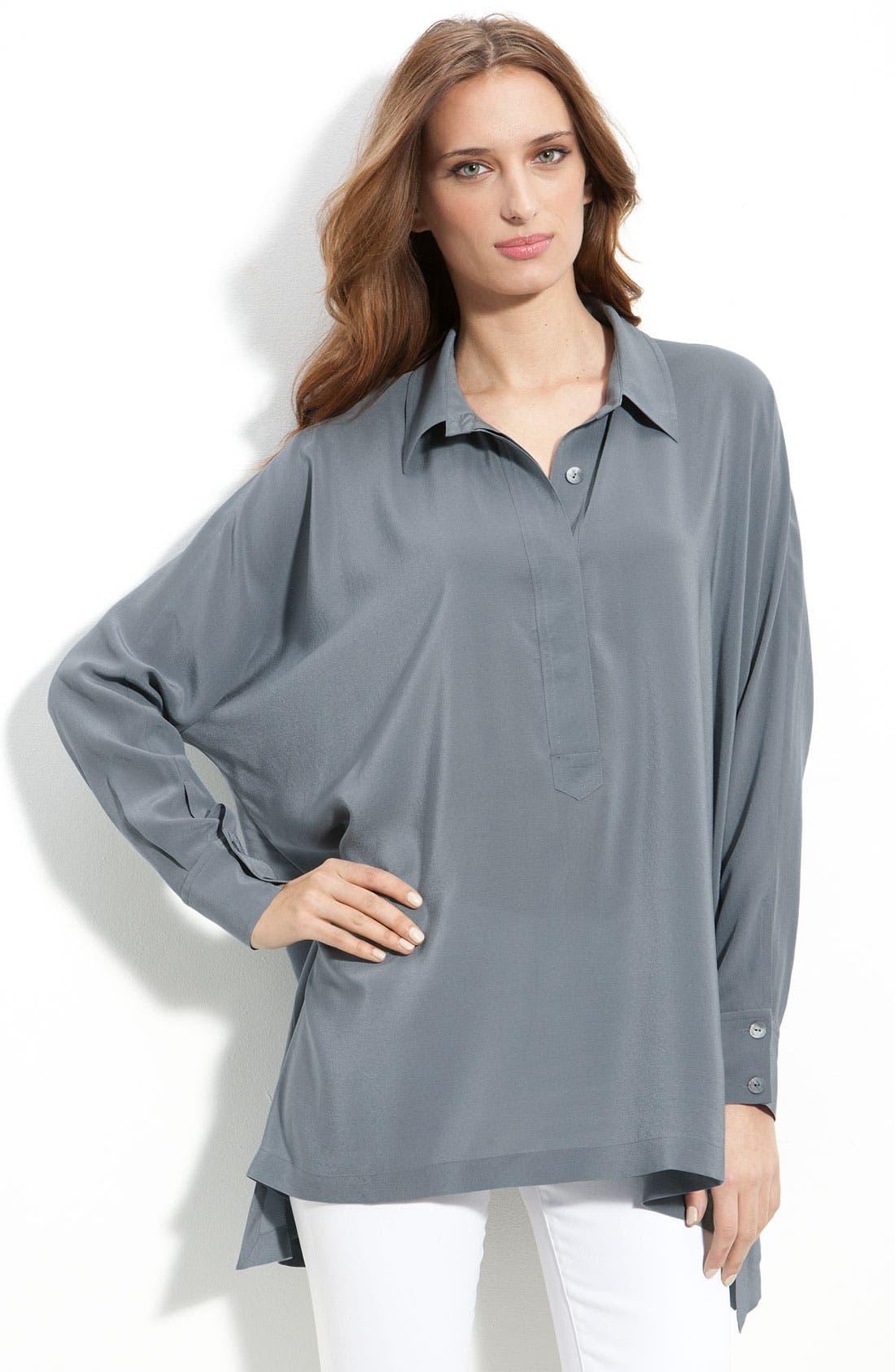 Alternate Image 1 Selected - Eileen Fisher Boxy Silk Shirt