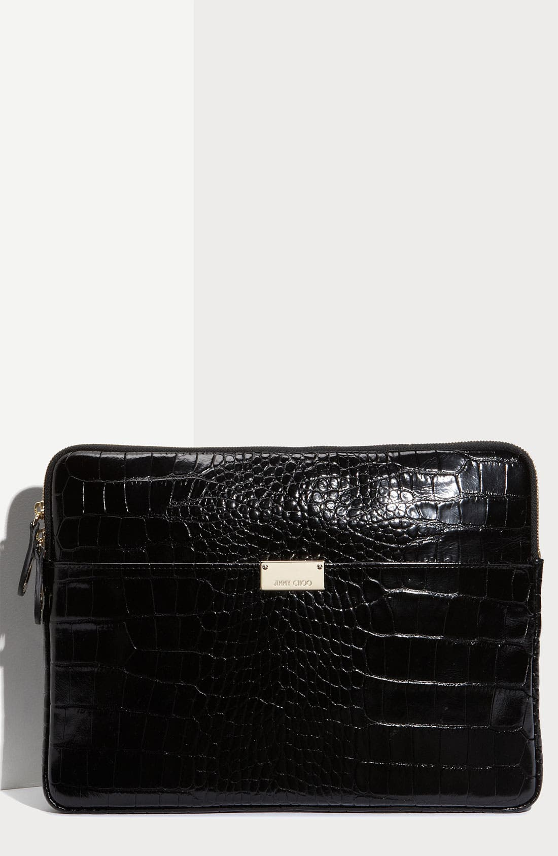 Main Image - Jimmy Choo 'Ryan - Moc Croc' Embossed Laptop Pouch (13 Inch)