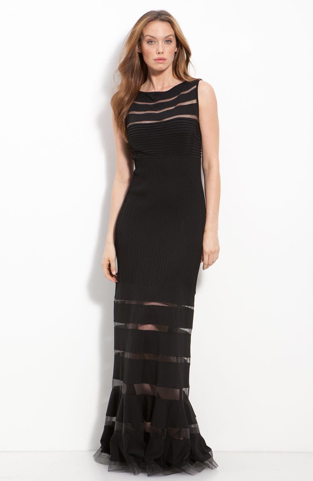Alternate Image 1 Selected - Tadashi Shoji Jersey Illusion Gown