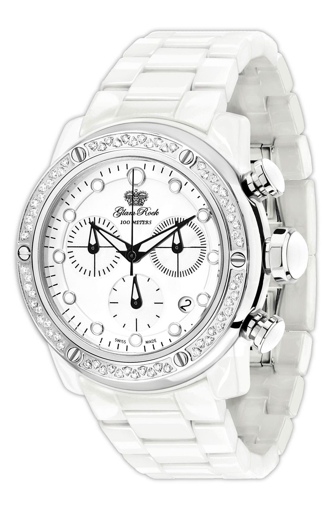 Main Image - Glam Rock 'Aqua Rock' Diamond & Ceramic Bracelet Watch