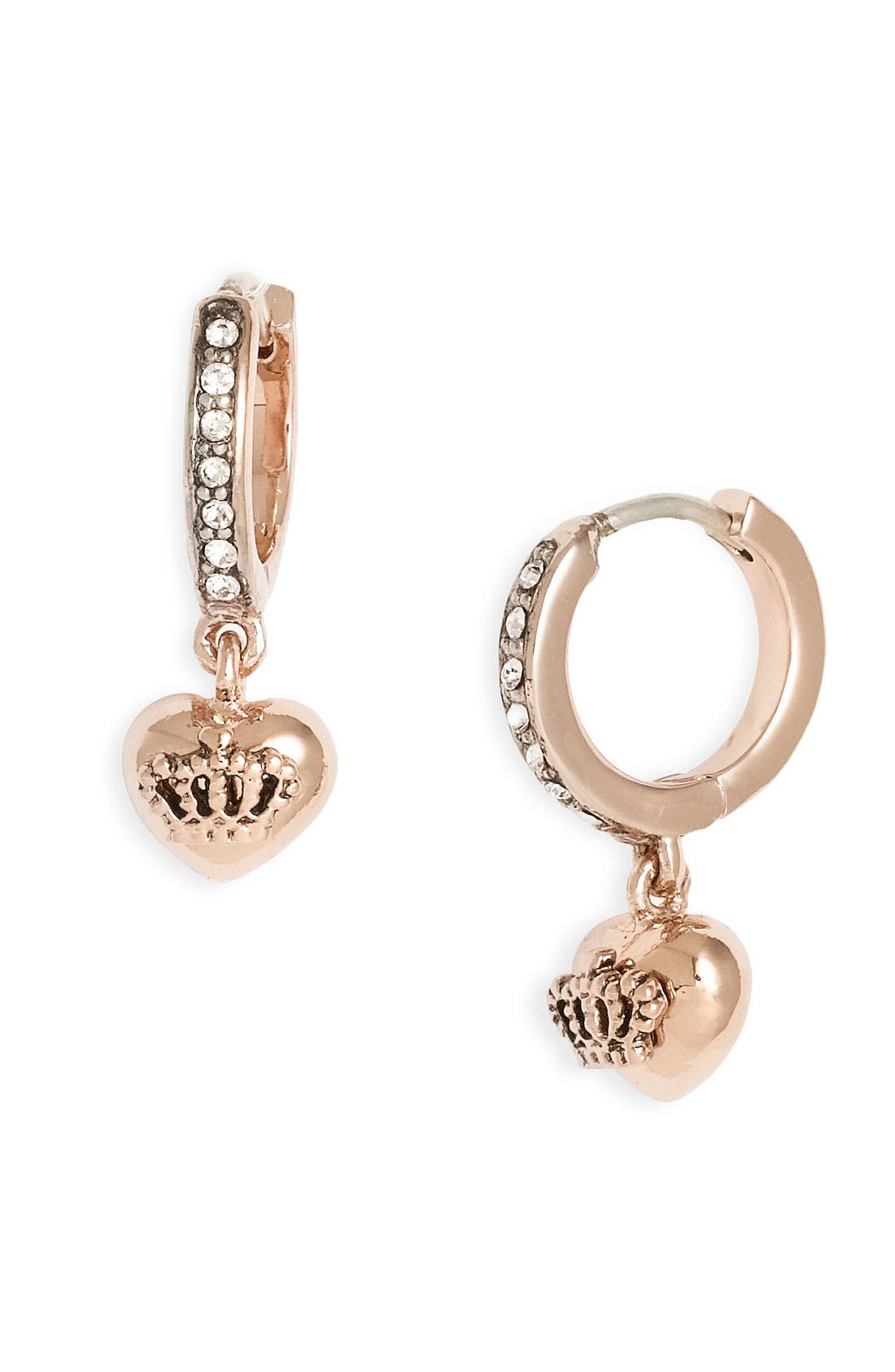 Alternate Image 1 Selected - Juicy Couture 'Crown Icons' Tiny Heart & Hoop Earrings