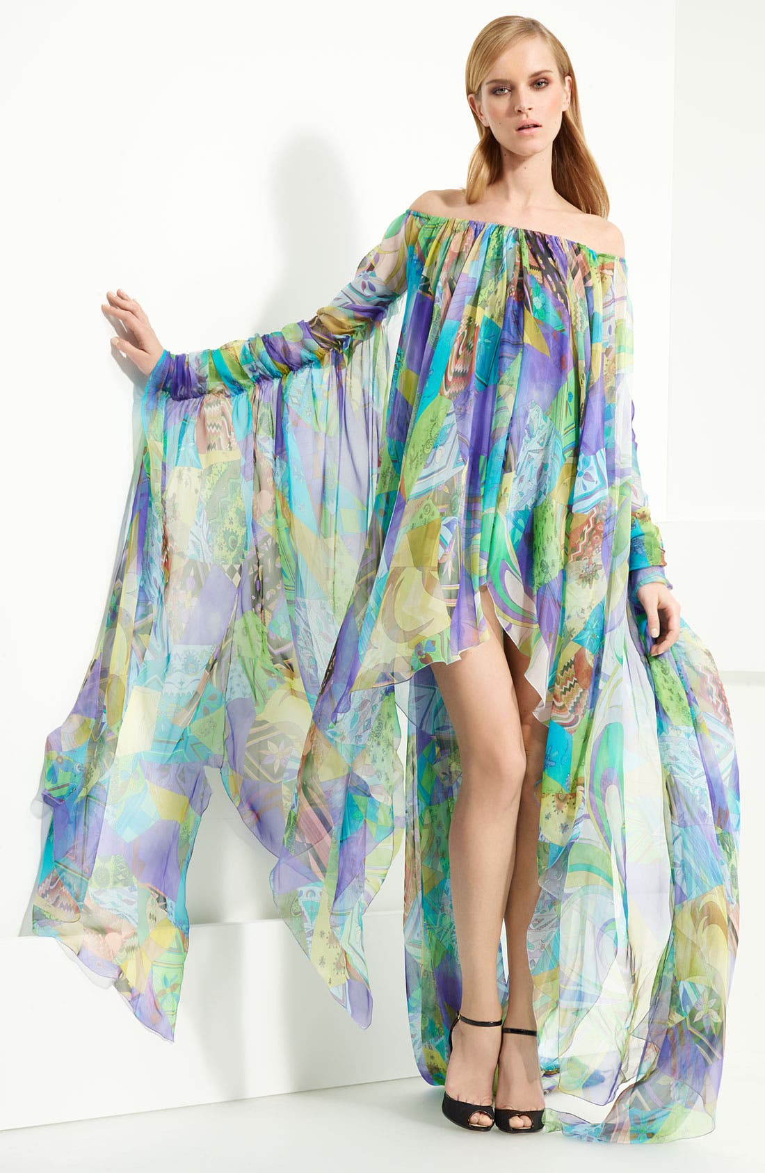Alternate Image 1 Selected - Emilio Pucci Patchwork Print Chiffon Gown