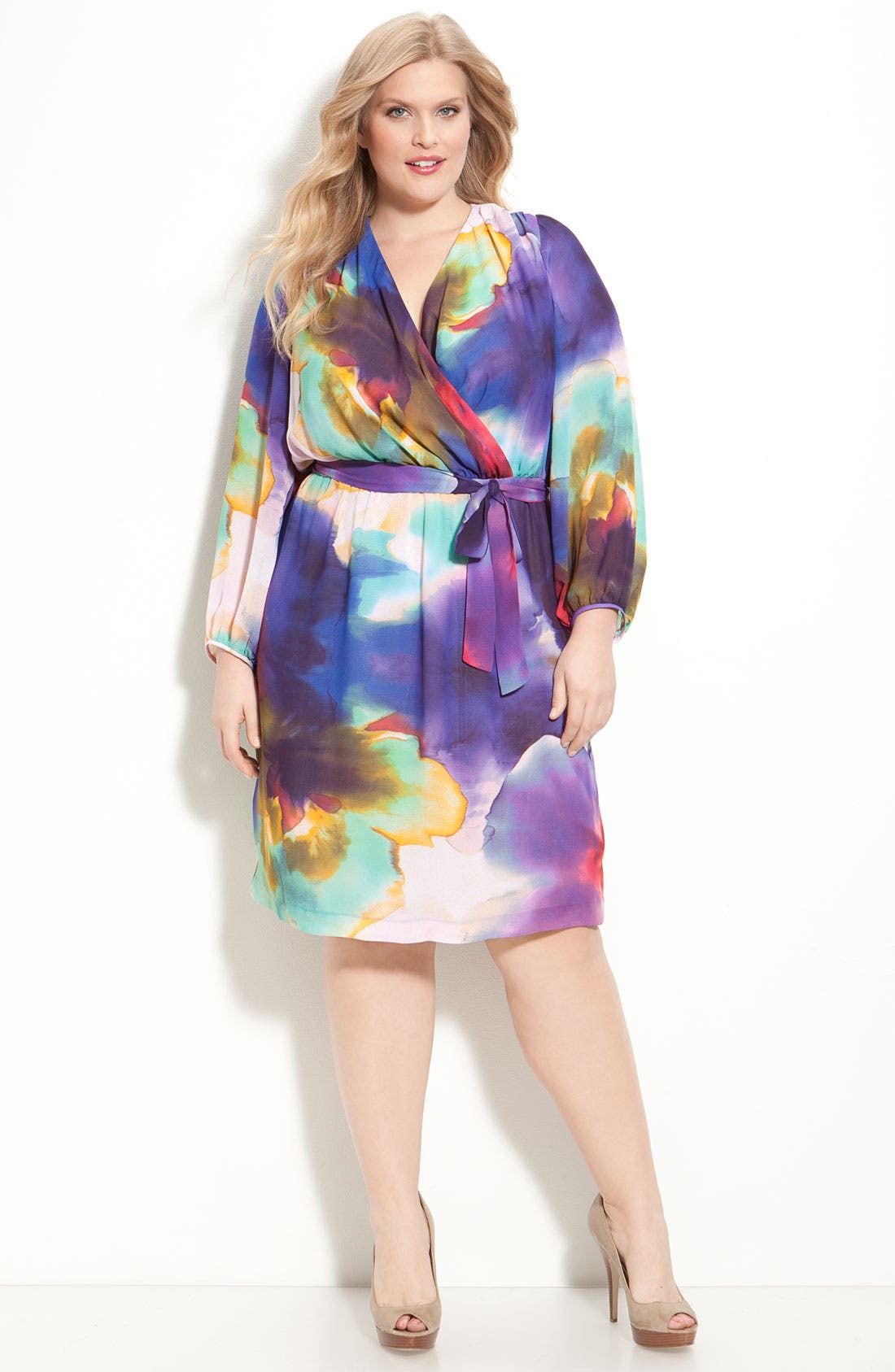 Main Image - Suzi Chin for Maggy Boutique Faux Wrap Dress (Plus)