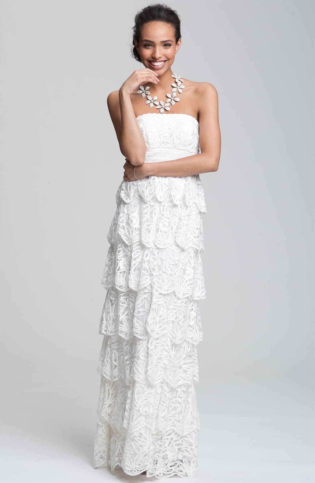 Alternate Image 3  - Sue Wong Tiered Strapless Mesh Gown