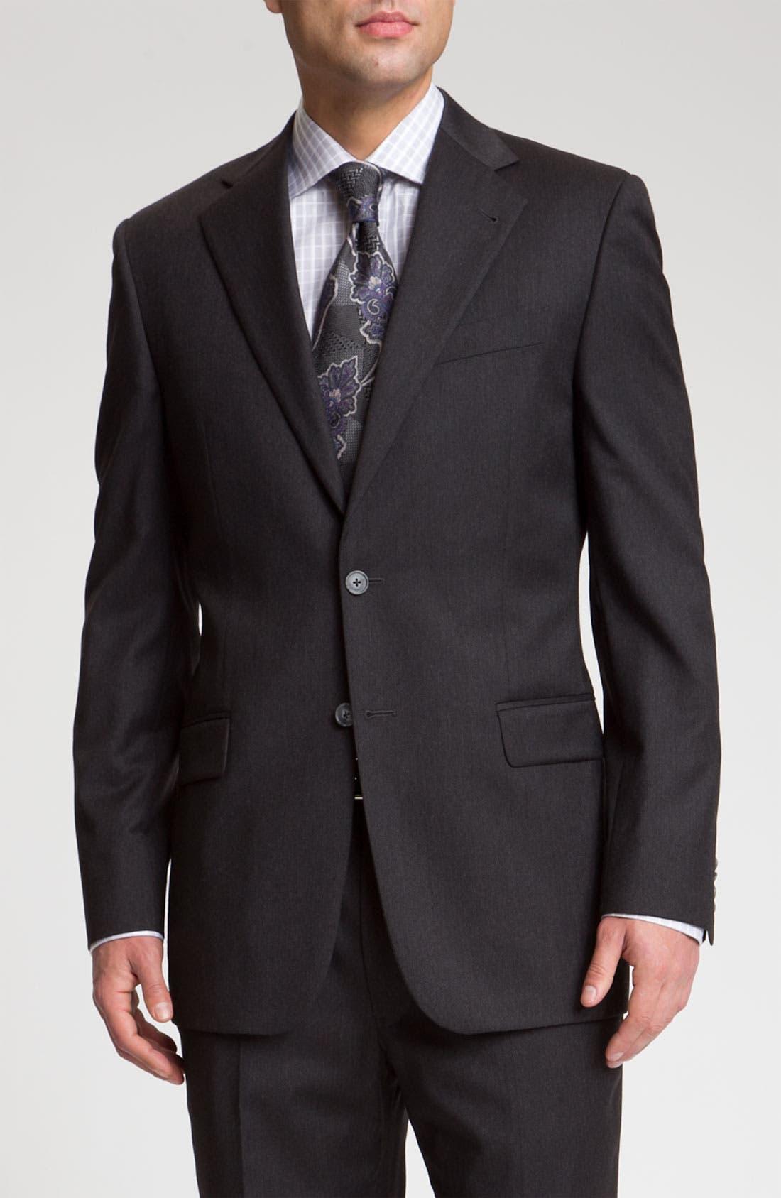 Alternate Image 1 Selected - Joseph Abboud 'Signature Silver' Dark Grey Wool Suit