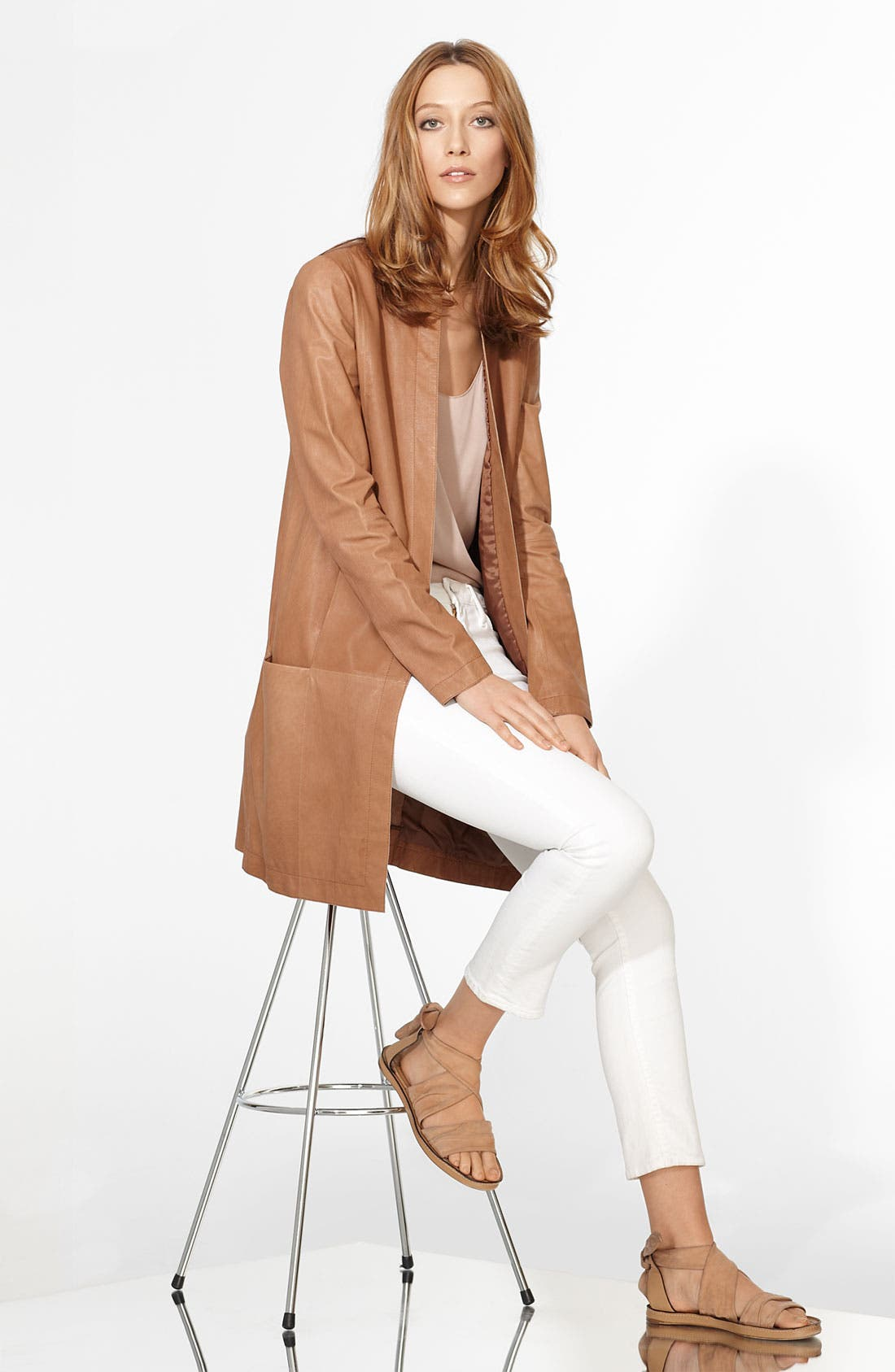 Alternate Image 3  - Vince Lambskin Leather Coat