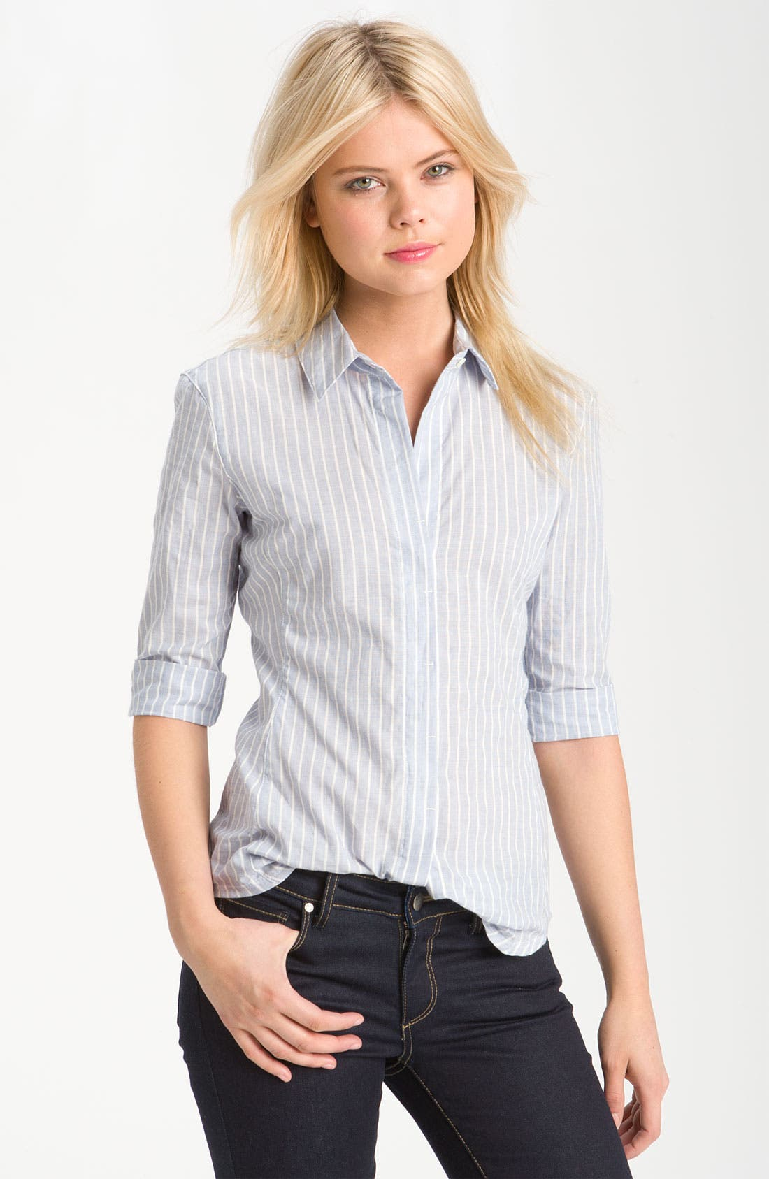 Main Image - James Perse Jersey Inset Half Sleeve Stripe Shirt