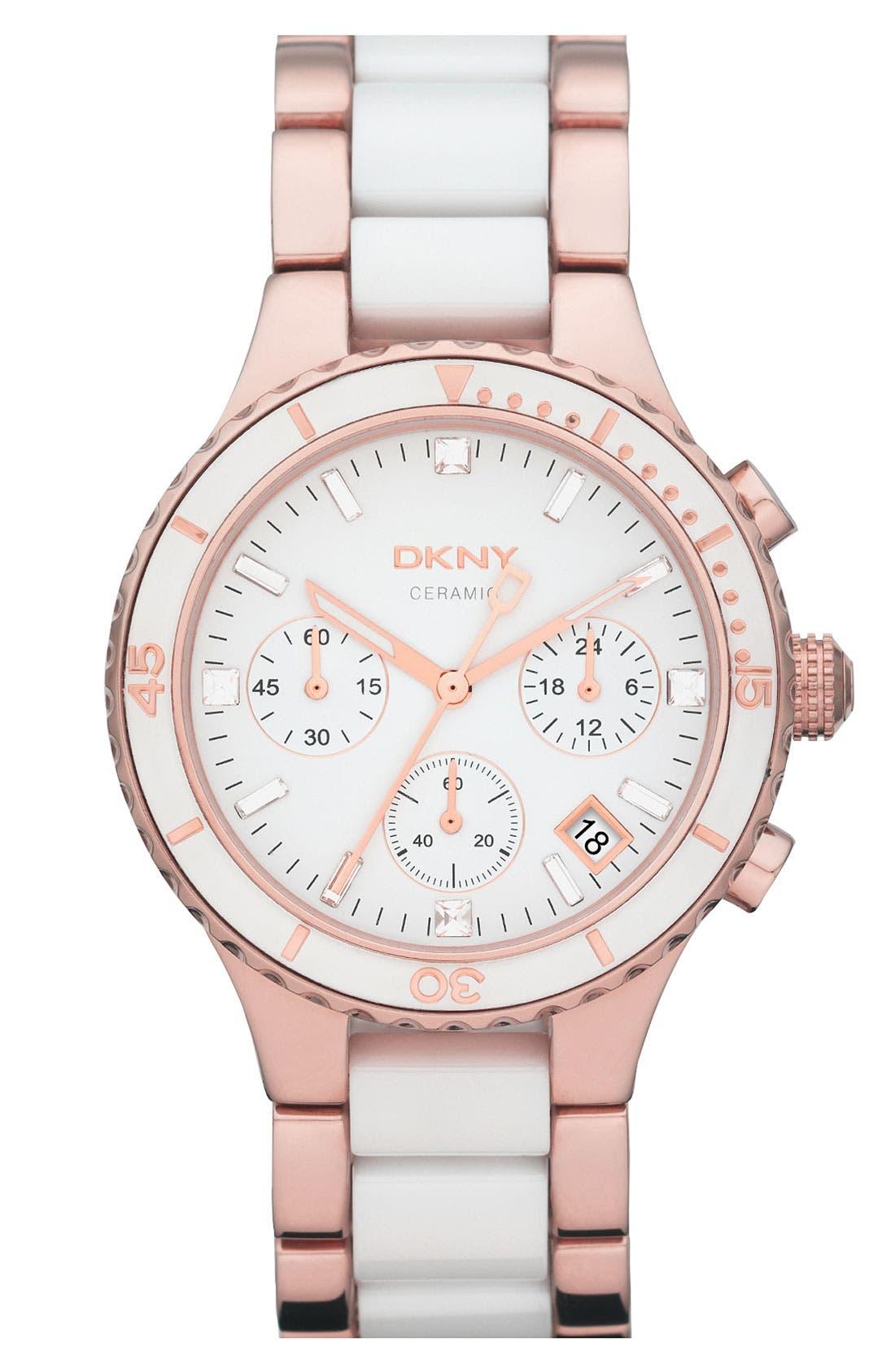 Main Image - DKNY Round Ceramic Bracelet Watch, 38mm