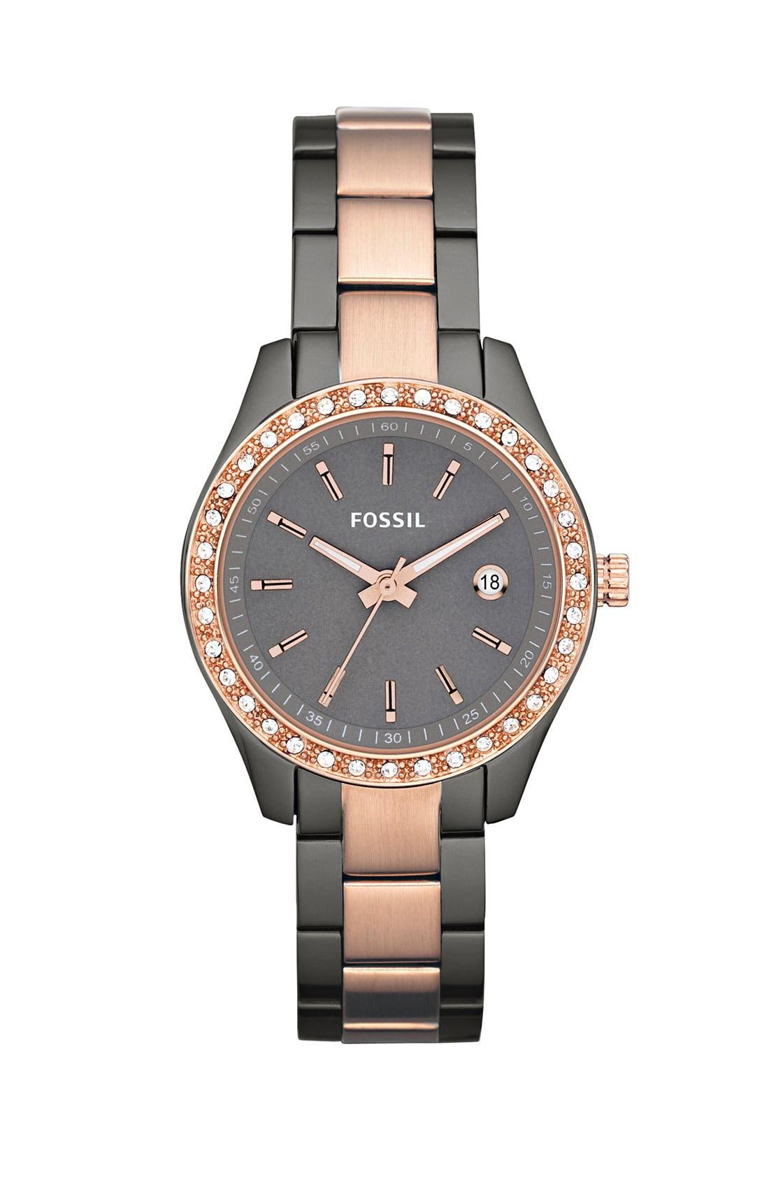 Alternate Image 1 Selected - Fossil 'Mini Stella' Two Tone Bracelet Watch, 30mm