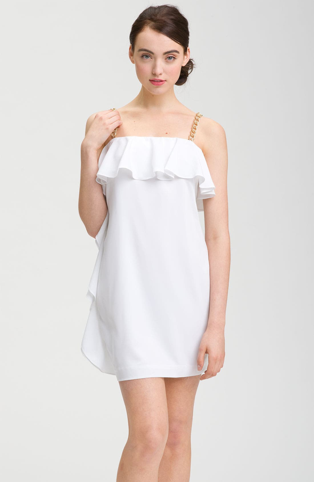 Main Image - Calvin Klein Chain Strap Ruffle Cocktail Dress