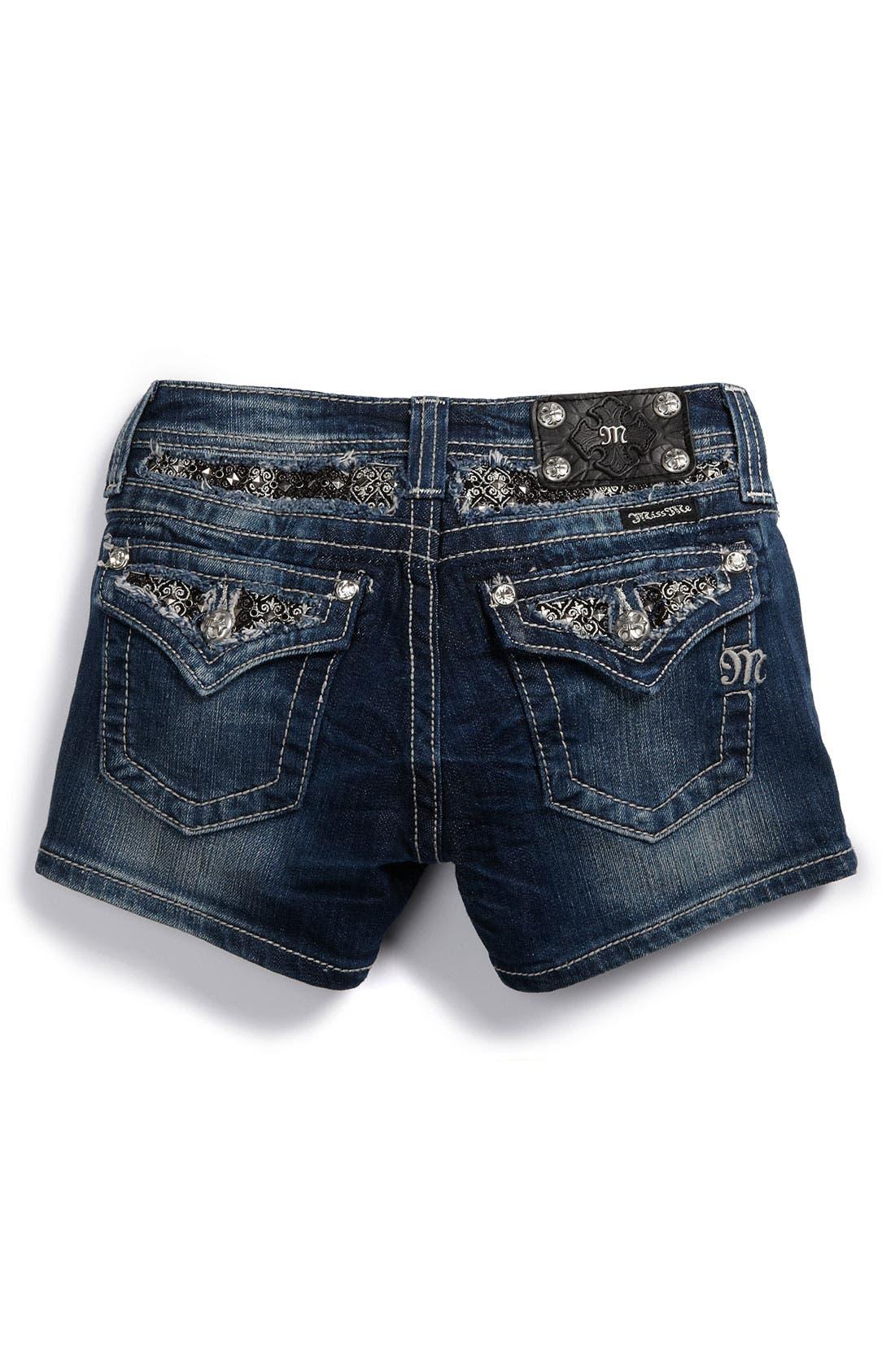 Alternate Image 1 Selected - Miss Me Pointed Flap Pocket Shorts (Big Girls)