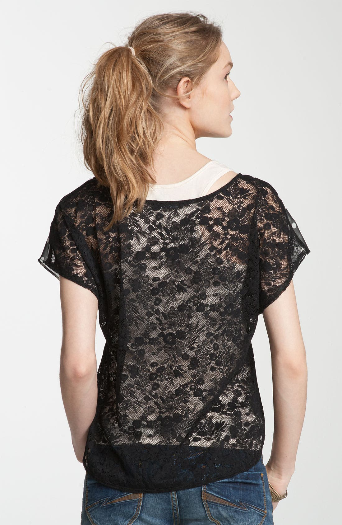 Alternate Image 2  - Soprano Sheer Chiffon & Lace Tee (Juniors)