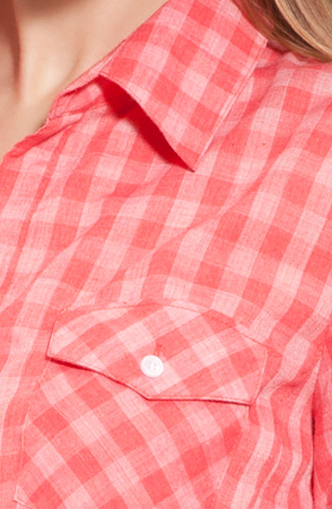Alternate Image 3  - Sandra Ingrish Roll Sleeve Gingham Shirt (Petite)