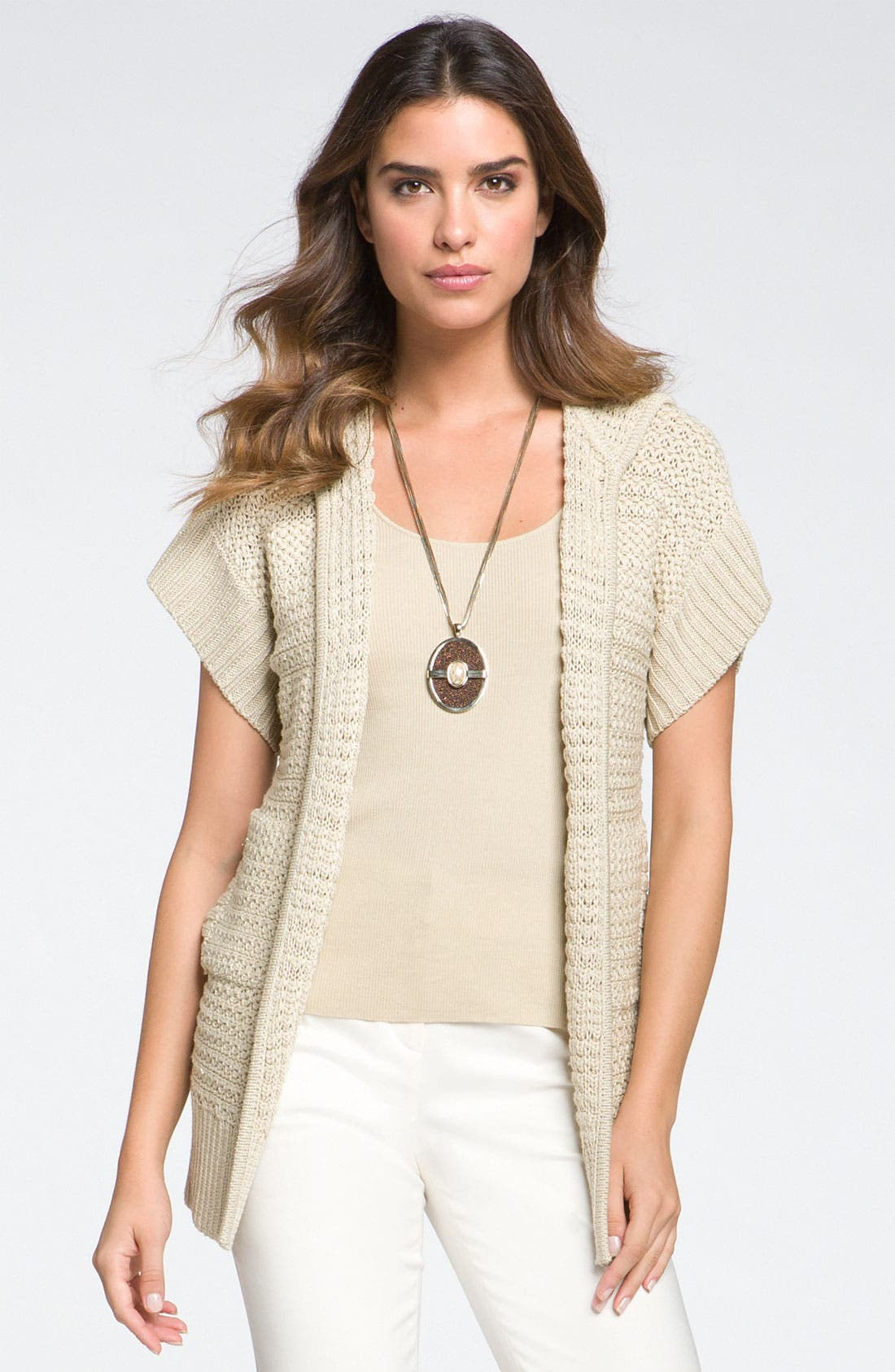 Alternate Image 1 Selected - St John Yellow Label Textured Knit Hooded Cardigan