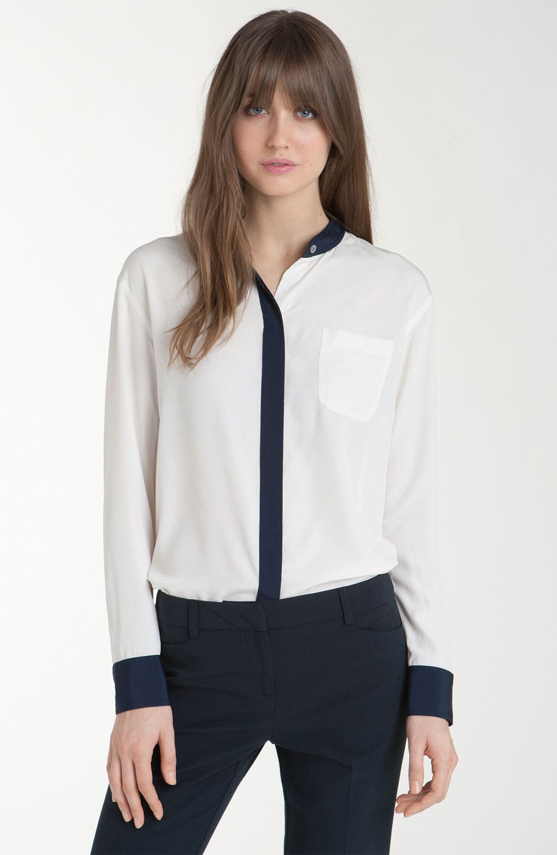 Main Image - Vince Camuto Stand Collar Shirt with Contrast Trim (Petite)