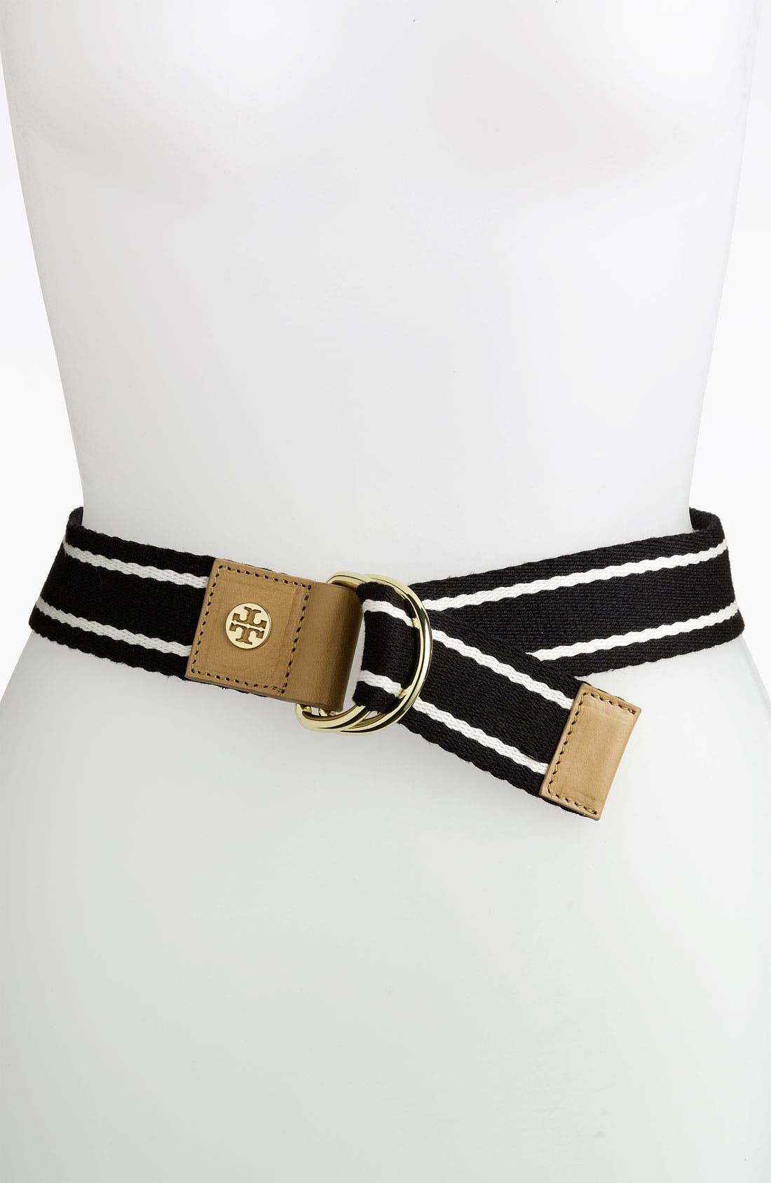 Alternate Image 1 Selected - Tory Burch Stripe Webbing Belt