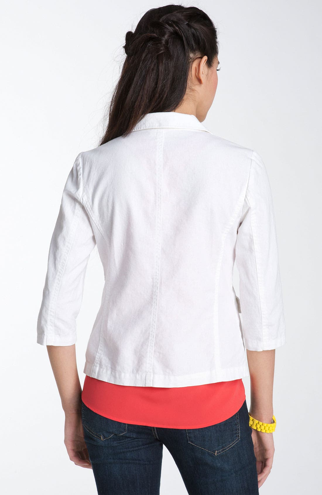 Alternate Image 2  - Frenchi®  Linen & Cotton Blazer (Juniors)