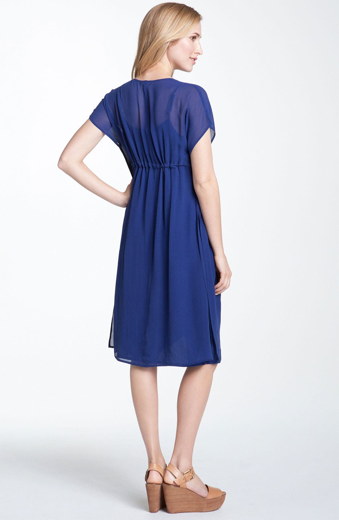 Alternate Image 2  - Eileen Fisher V-Neck Silk Chiffon Dress