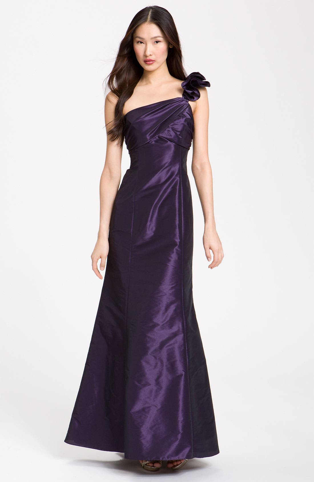 Alternate Image 1 Selected - Amsale Ruffle Shoulder Taffeta Gown