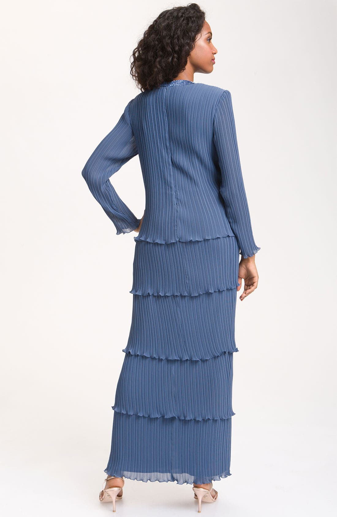 Alternate Image 2  - Patra Beaded Mock Two-Piece Pleated Chiffon Dress