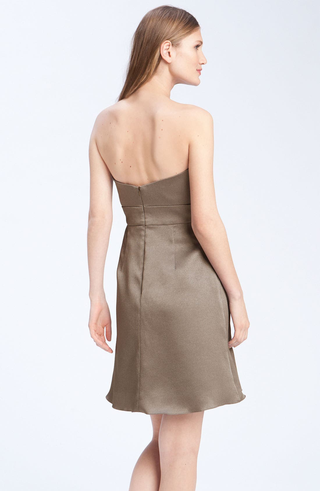 Alternate Image 2  - Jenny Yoo Hammered Satin Strapless Dress